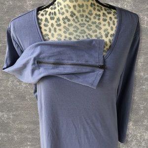 Simply Noelle Blue Zipper Detail Tunic Top Size XL